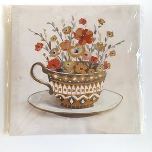 Farmhouse Tea Cup Floral Vase Metallic Wall Art